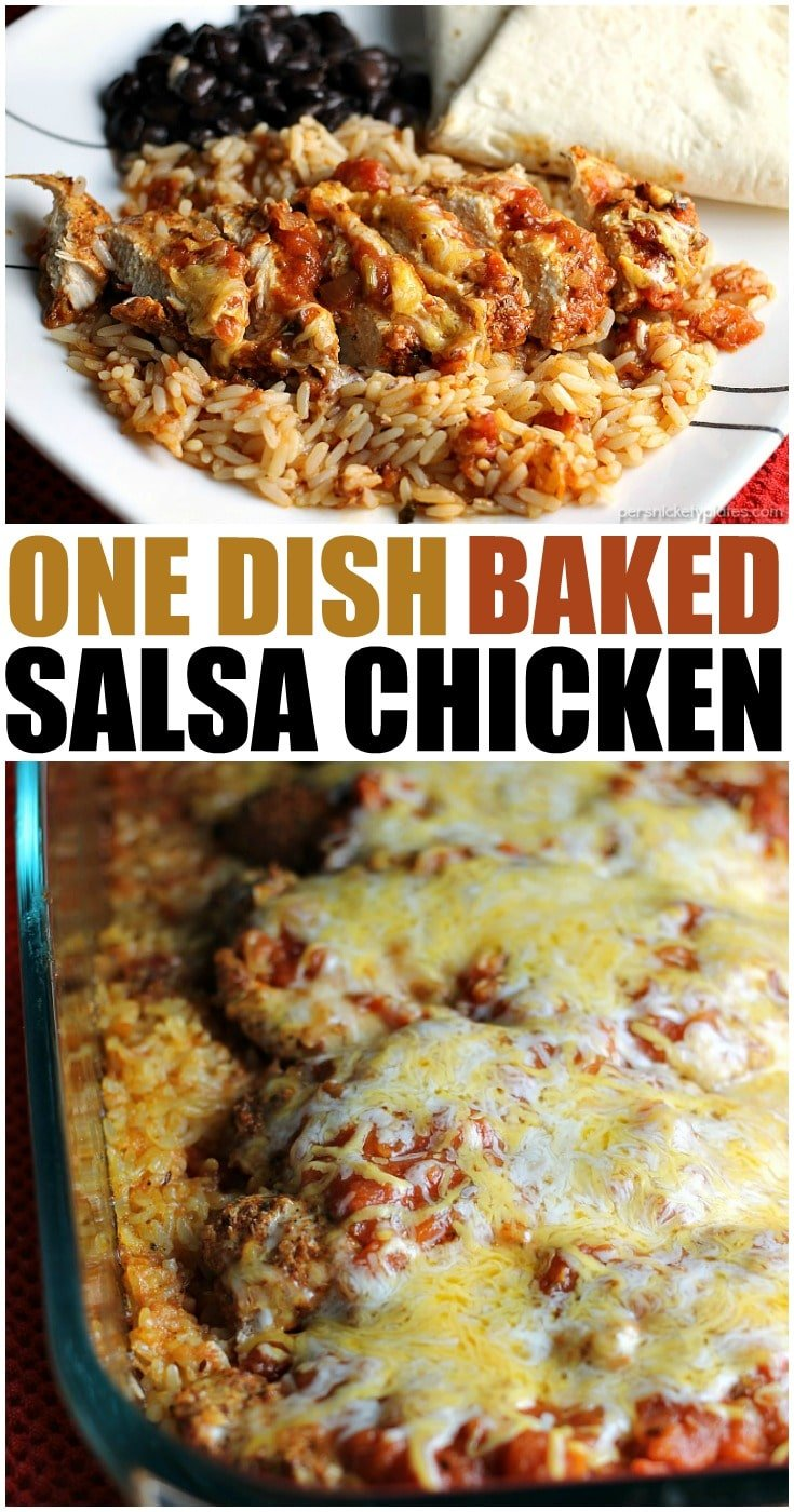 One Dish Baked Salsa Chicken Casserole is perfect for busy week nights or any night that you want a quick and easy dinner that's full of flavor! | Persnickety Plates AD #McCormickDinners