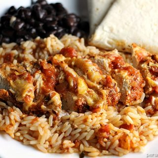 One Dish Baked Salsa Chicken Casserole is perfect for busy week nights or any night that you want a quick and easy dinner that's full of flavor! | Persnickety Plates