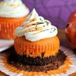 Brownie Bottom Halloween Cupcakes
