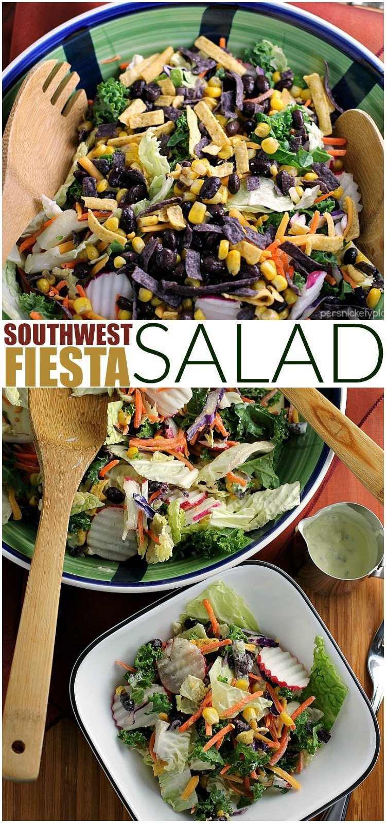 Southwest Fiesta Salad with a quick homemade spicy jalapeno dressing is a fast and healthy meal for any day of the week.   Persnickety Plates AD