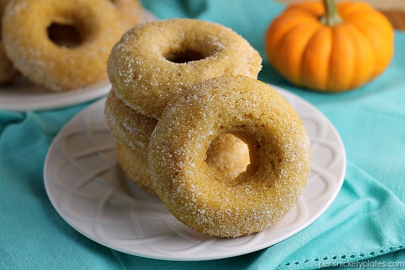 plate of sugar coated donuts with pumpkin in background