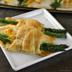 Cheesy Asparagus Puffs are a quick appetizer or side dish. Fresh asparagus wrapped up with provolone and cheddar cheeses and baked in a crescent roll - easy, cheesy, and delicious! | www.persnicketyplates.com