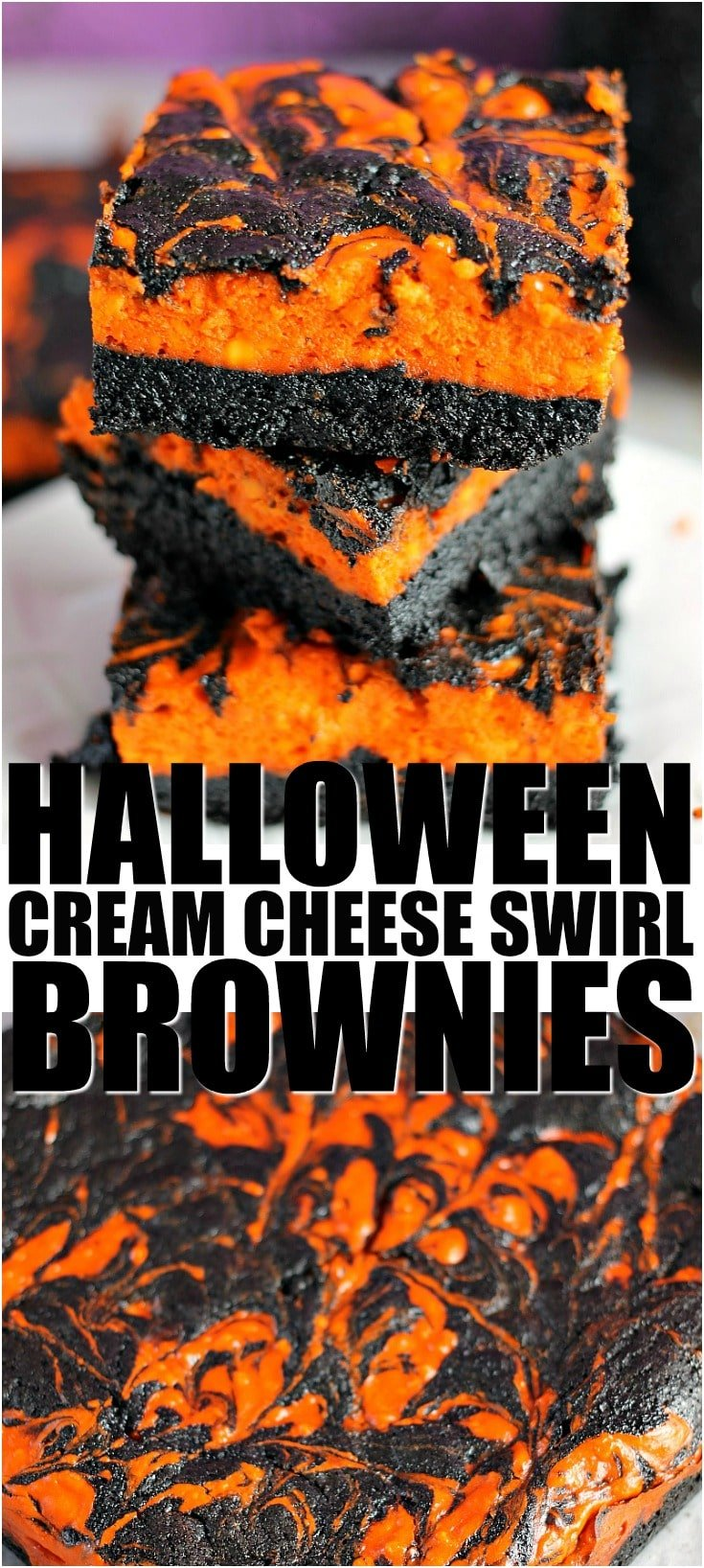 Halloween Cream Cheese Swirl Brownies have a layer of rich, dark chocolate brownie topped with a layer of orange cheesecake then swirled together for a spooky treat. | Persnickety Plates #halloween #halloweenbrownies #halloweendessert #cheesecake #brownies