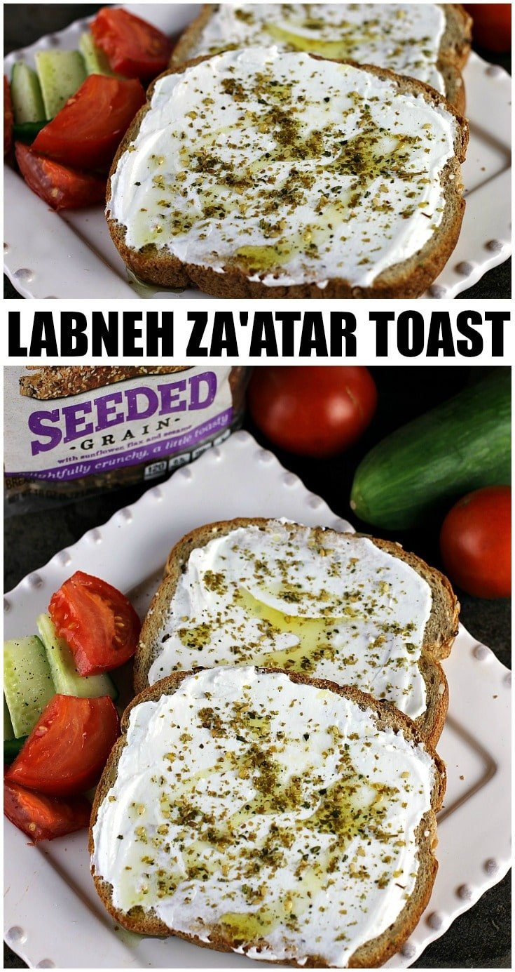 Labneh Za'atar Toast takes just a few simple ingredients but it comes together for a quick, filling, and healthy meal.  | Persnickety Plates AD