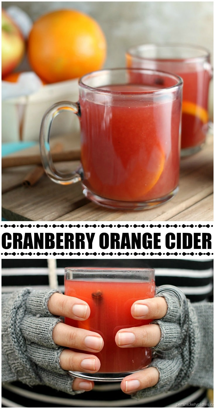 Cranberry Orange Cider only takes about 15 minutes to make and is perfect for all the winter and holiday activities that leave you cold and in need of warming up! | www.persnicketyplates.com AD
