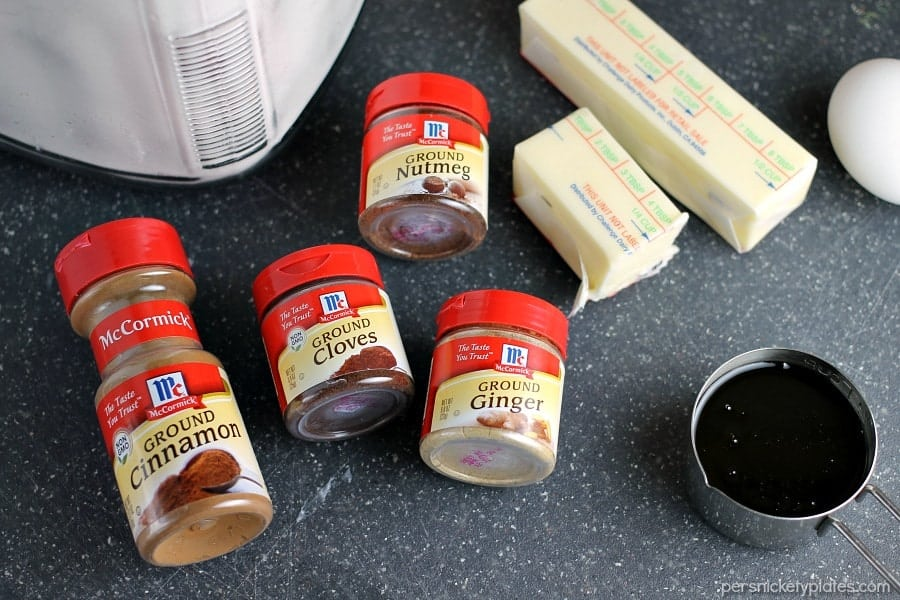 spices, butter, and molasses laid out to make ginger snap cookies