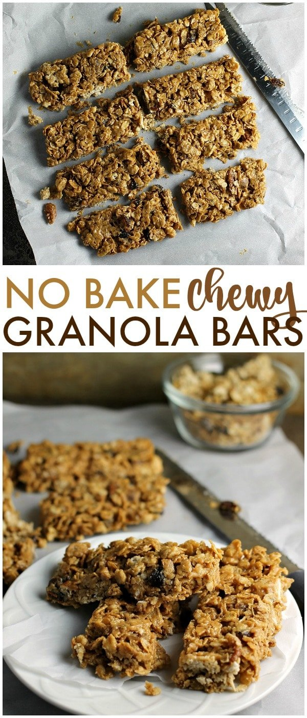 No Bake Chewy Granola Bars filled with peanut butter, honey, raisins, dates, and pecans are a healthy start to your day. With only five ingredients, you can whip them up in no time! | www.persnicketyplates.com #ad