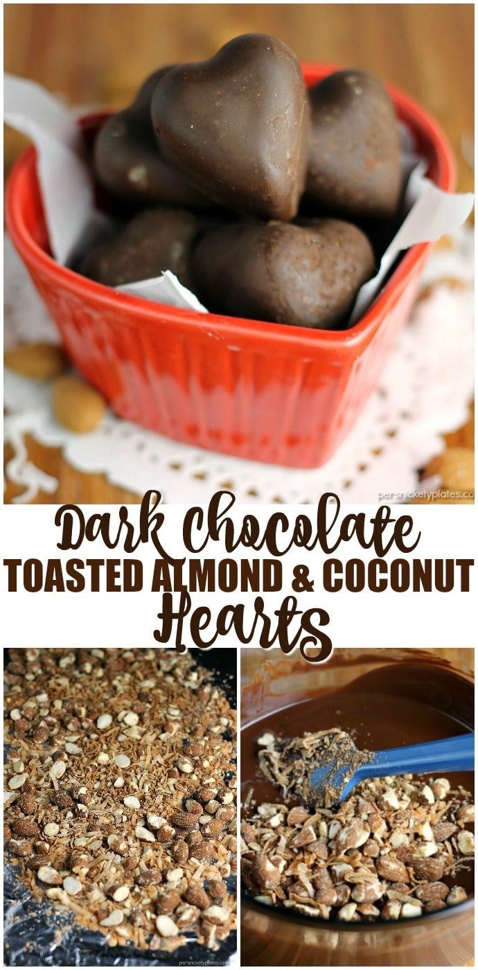 Dark Chocolate Toasted Almond and Coconut Hearts are a sweet, homemade goody perfect for Valentine's Day or anytime you want to treat yourself. | www.persnicketyplates.com AD