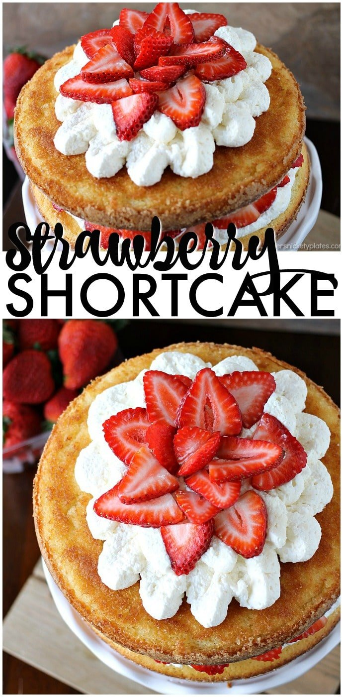 Strawberry Shortcake Cake is a rustic vanilla layer cake filled with a whipped cream cheese frosting and fresh strawberries. Easy, impressive, and SO good! | www.persnicketyplates.com AD
