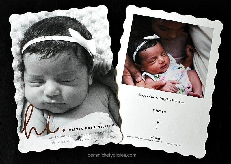 Olivia Rose Birth Announcement from Minted | www.persnicketyplates.com