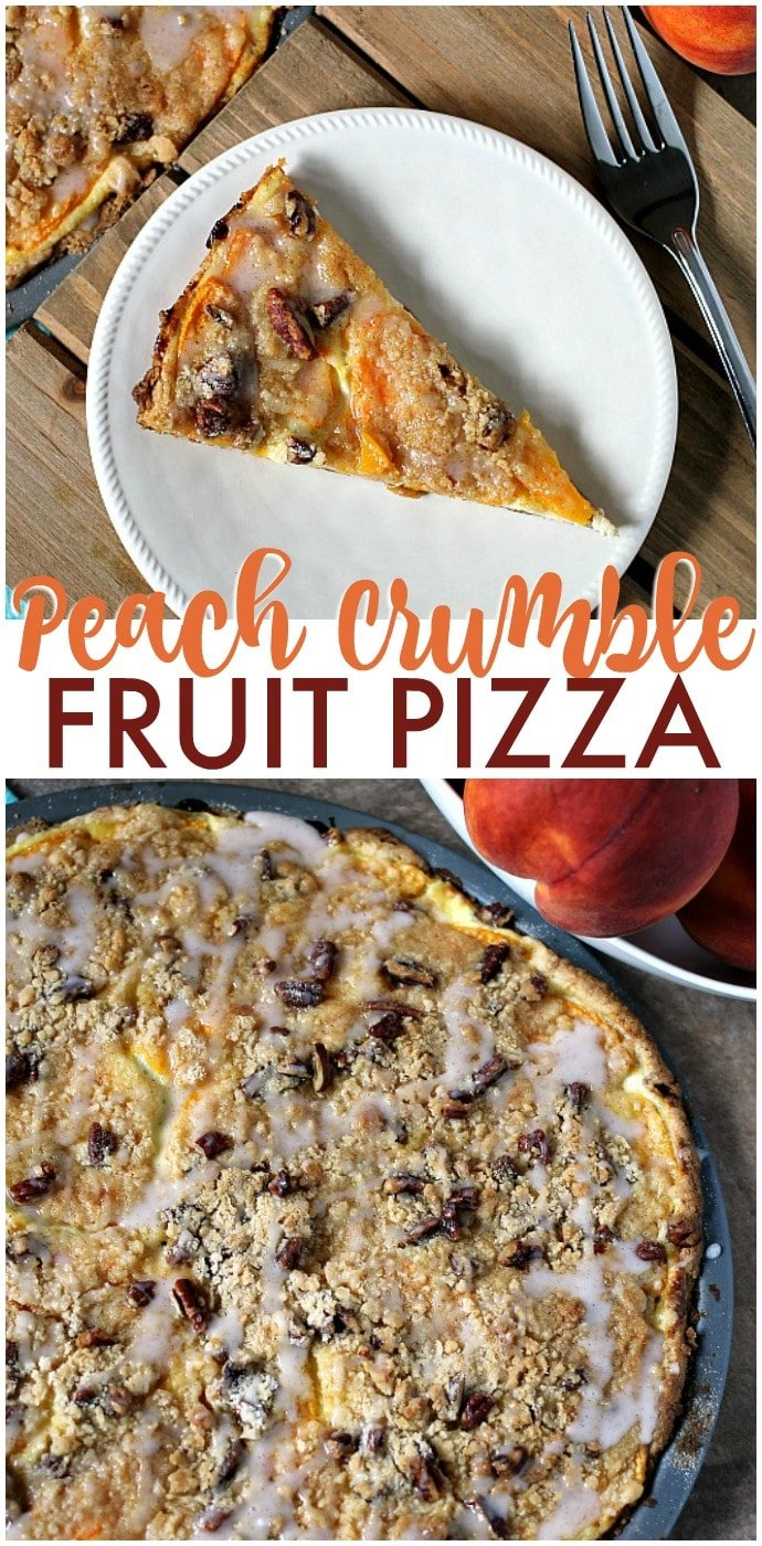 Peach Crumble Fruit Pizza is made on a cake batter crust, piled with thinly sliced fresh peaches, topped with a crumble and pecans and drizzled with a cinnamon sugar glaze. | www.persnicketyplates.com