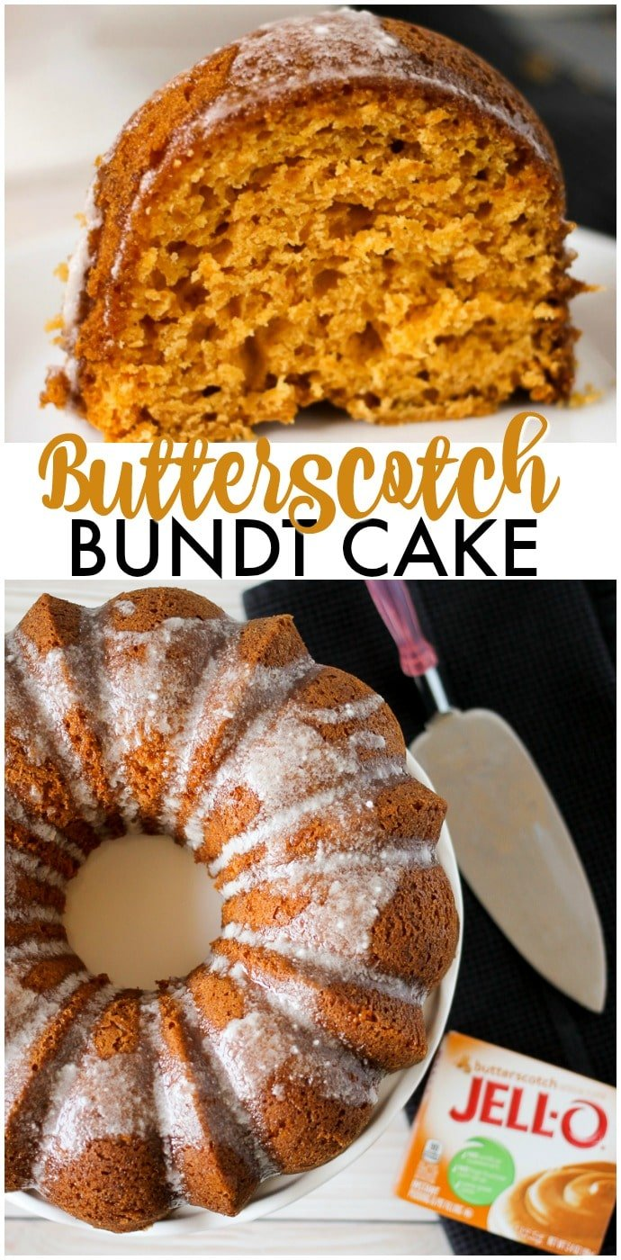 Butterscotch Bundt Cake is a moist and flavorful bundt cake made with the help of a cake mix and JELL-O pudding. Perfect for the holiday table! | www.persnicketyplates.com