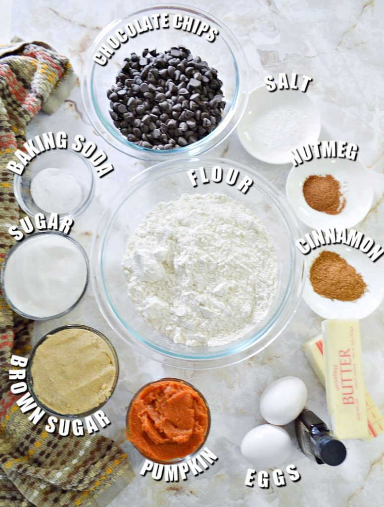 ingredients laid out in bowls to make pumpkin chocolate chip cookies