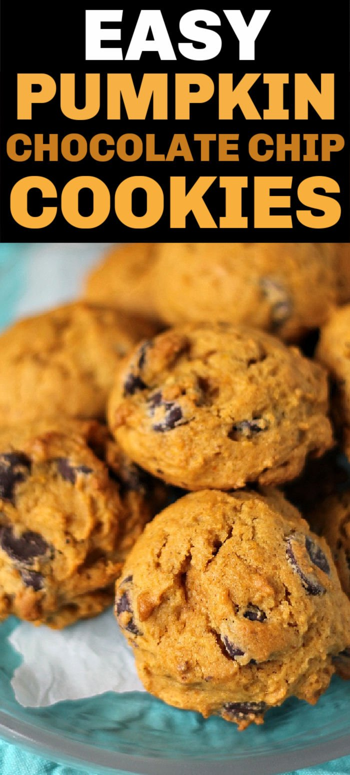 Pumpkin Chocolate Chip Cookies are soft, cake-like, cookies that are perfect for fall! | www.persnicketyplates.com