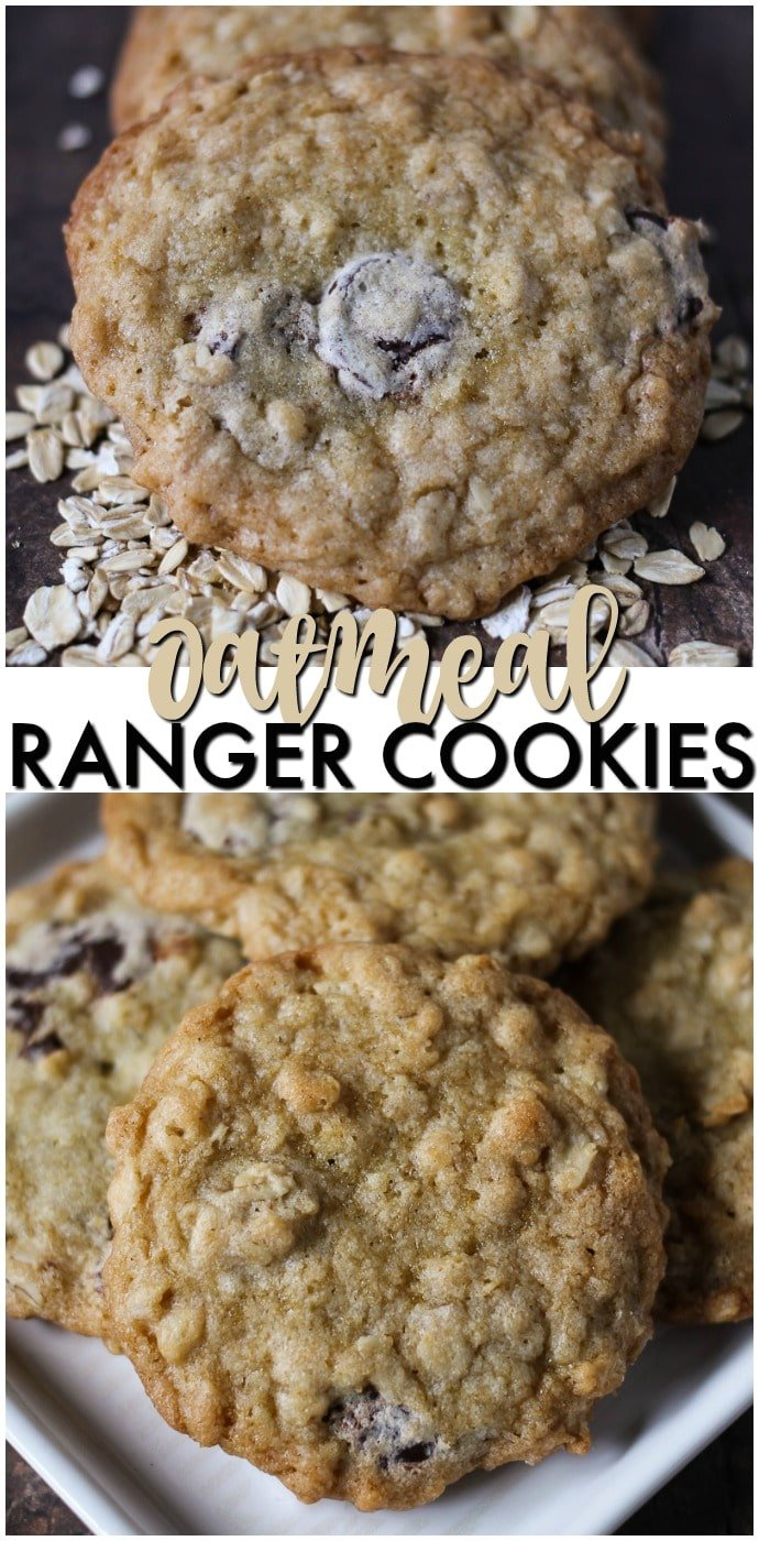 Ranger Cookies are a soft and chewy cookie filled with oatmeal, chocolate chips, and crispy rice cereal. Definitely a new favorite for the cookie jar! | www.persnicketyplates.com #cookies #oatmeal #easyrecipe #dessert