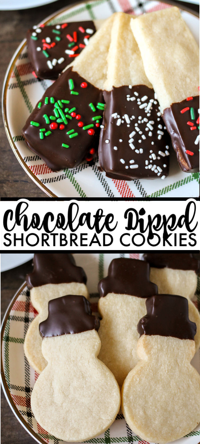 Chocolate Dipped Shortbread Cookies are a simple, from-scratch, shortbread cookie dipped in dark chocolate that's perfect for dunking in milk, coffee, hot chocolate...Santa won't be disappointed with these shortbread Christmas cookies!   www.persnicketyplates.com #christmascookies #shortbread #easyrecipe #baking #cookies #chocolate #sprinkles