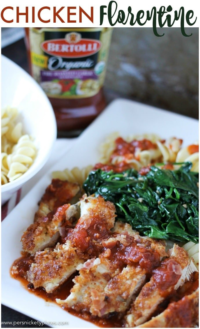 Chicken Florentine made with Bertolli Organic Fire Roasted Garlic Marinara Sauce is a 30 minute meal that's perfect for a busy weeknight. It looks and sounds fancy, it even tastes fancy, but it's a quick and easy meal. | www.persnicketyplates.com