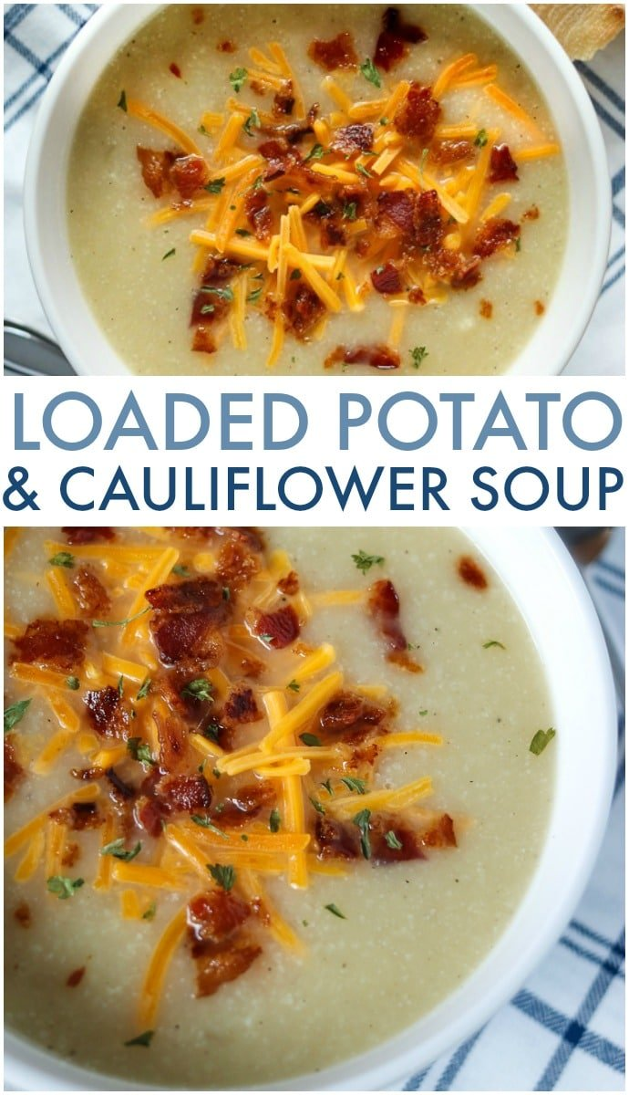 Loaded Potato and Cauliflower Soup has everything you love about loaded potato soup - it's creamy, full of smoky bacon, and cheese - but is lightened up with the use of cauliflower! | www.persnicketyplates.com