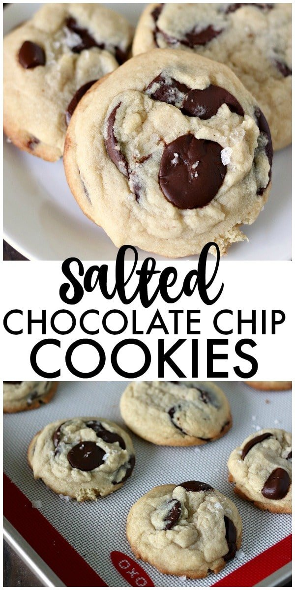 Once you try these thick, chewy, cake-like Salted Chocolate Chip Cookies, you're going to forget about all your other chocolate chip cookie recipes! | www.persnicketyplates.com #cookies #chocolatechip #baking #easyrecipe #chocolatechipcookies #homemadecookies