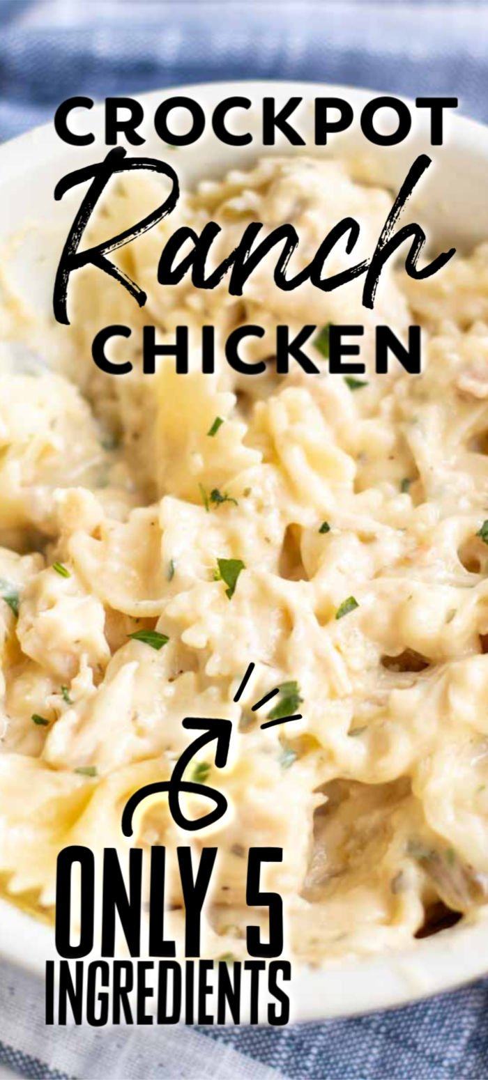 Five ingredient, very simple Slow Cooker Creamy Ranch Chicken can quickly be thrown together in the crock pot for a meal the whole family will love! | www.persnicketyplates.com