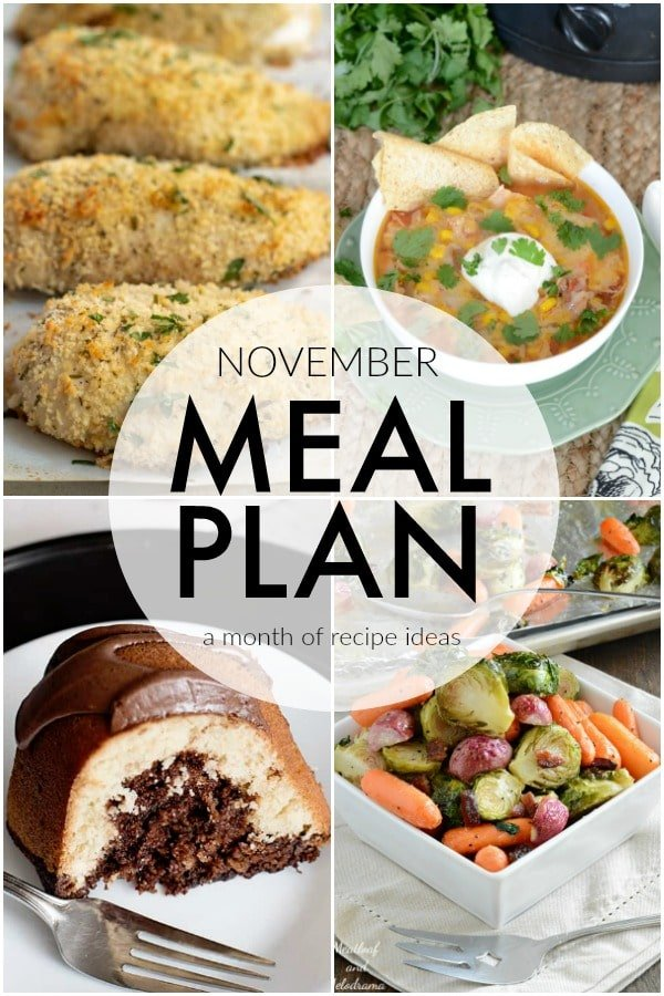 If you struggle to plan dinner ideas every night like me, we have some recipe ideas for you. This November Meal Plan will help make planning dinners quick and easy. | www.persnicketyplates.com