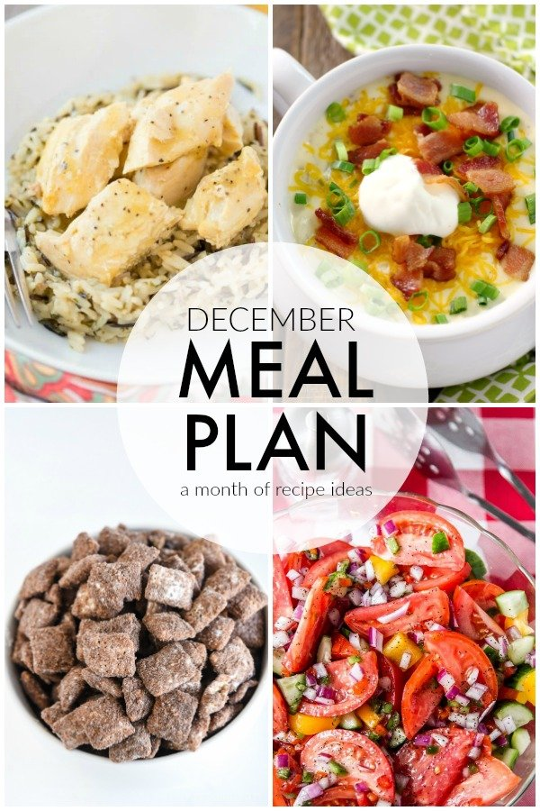 Four weeks worth of ideas with dinner, side dishes, and dessert recipes to help you meal plan for December with ease. | www.persnicketyplates.com