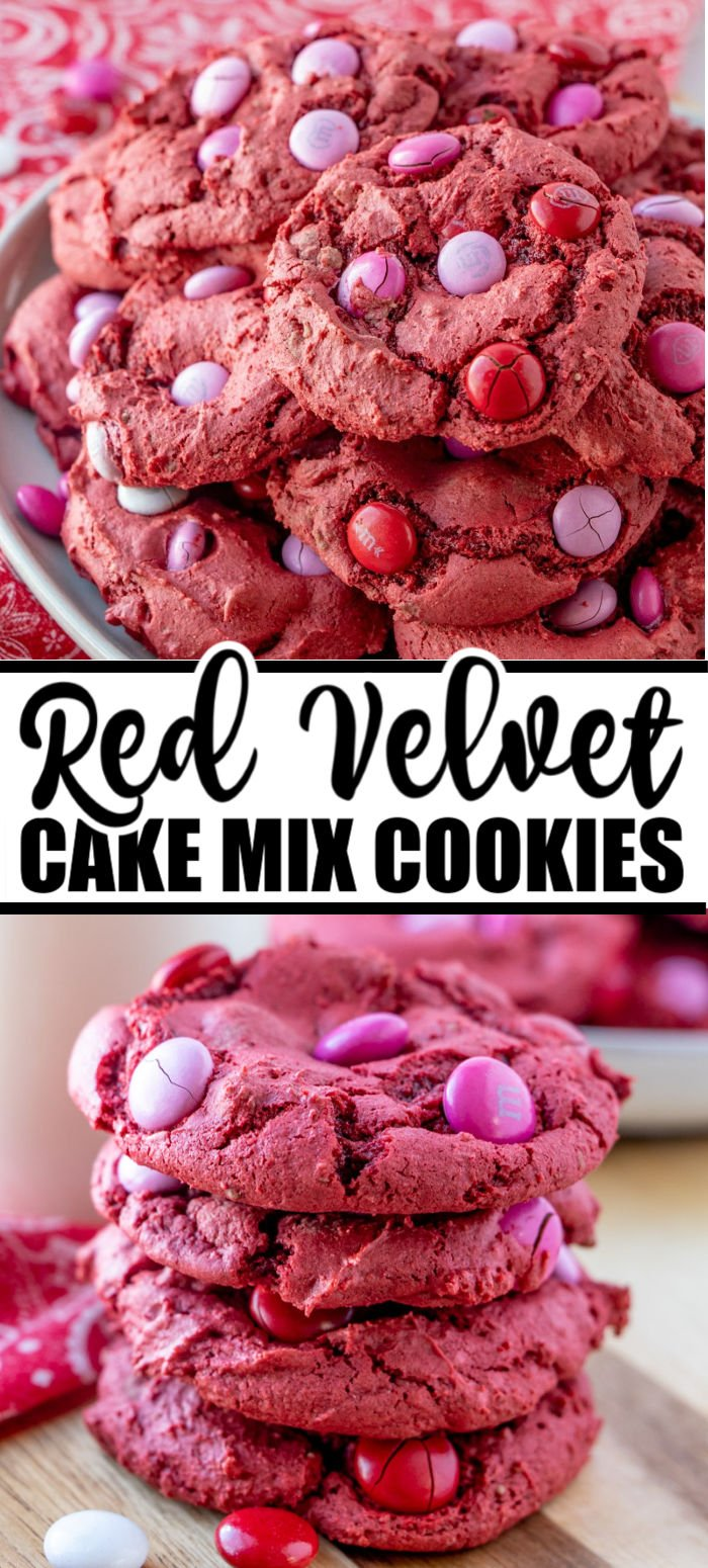 Red Velvet M&M Cake Mix Cookies are made with only 4 ingredients, one bowl, and take less than 30 minutes. These red velvet cookies are an easy dessert, perfect for Valentine's Day! | www.persnicketyplates.com