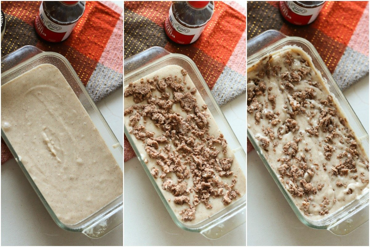 collage of cinnamon quick bread loaf pan with streusel topping