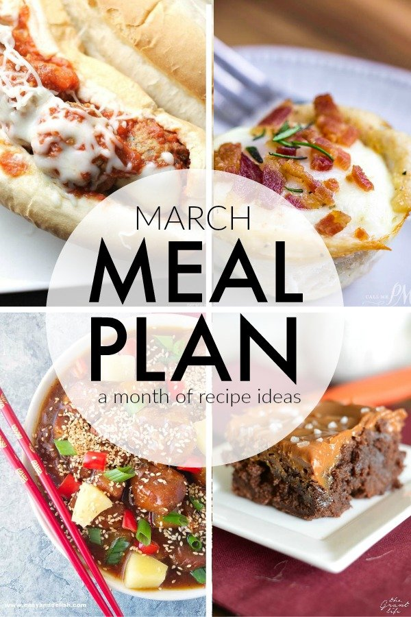 This March Meal Plan includes easy dinners, sides, and desserts to help you save time and plan ahead. Menu planning made easy with recipes for the month. | www.persnicketyplates.com