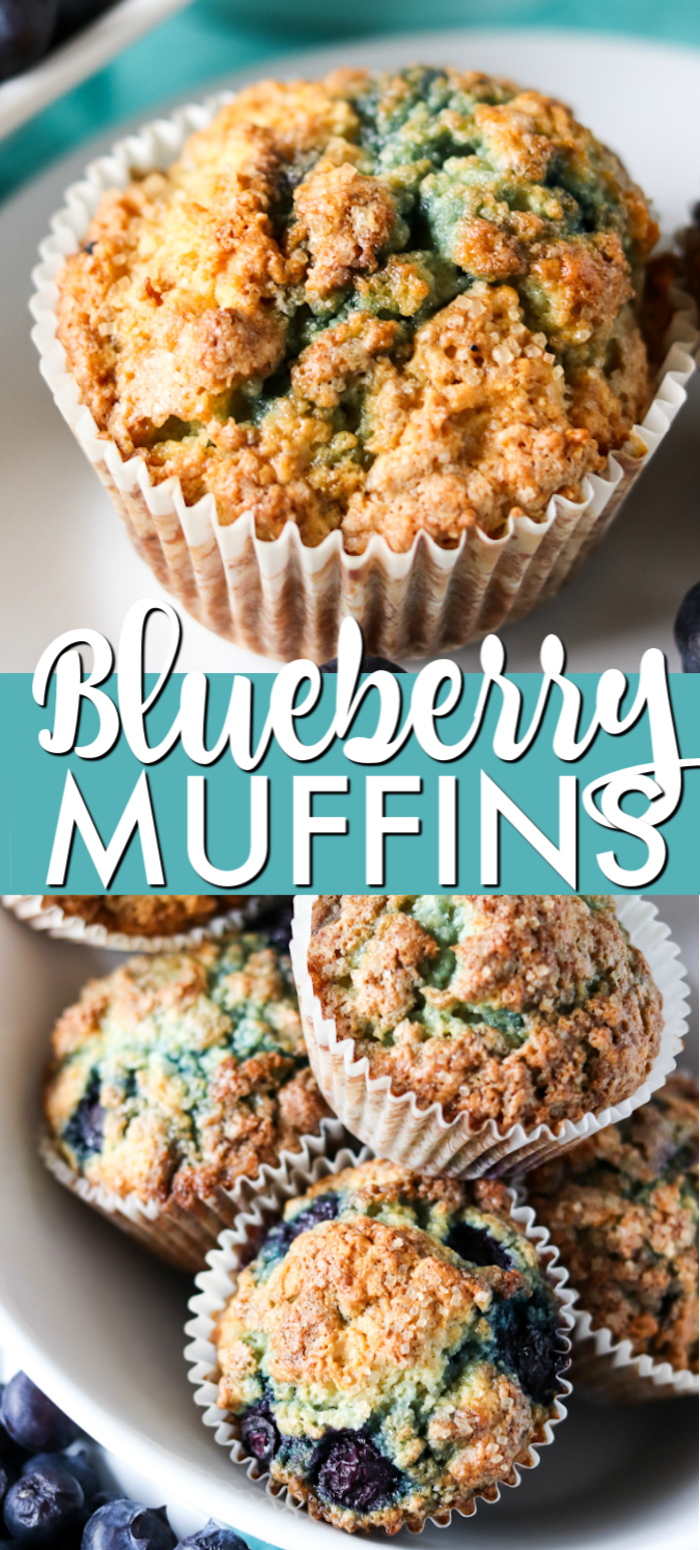 These Blueberry Muffins have a tender, buttermilk crumb, are full of blueberry flavor, and are topped with a crunchy sugary topping. Start your day off right with a batch of the best blueberry muffins! | www.persnicketyplates.com #muffins #breakfast #blueberries #fruit #brunch #blueberrymuffins