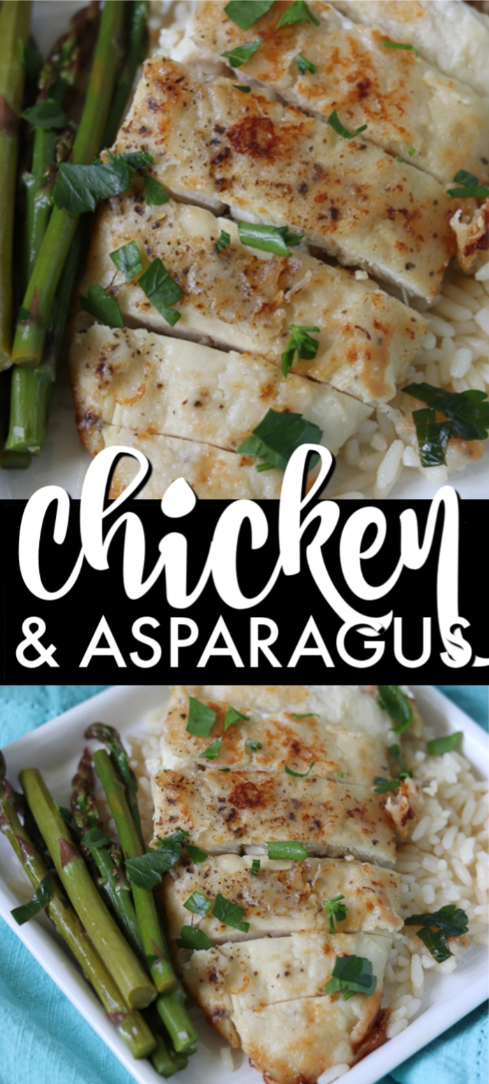 Chicken and Asparagus in a white wine sauce is a quick & easy low carb, 30 minute meal that looks (& tastes!) fancy.   www.persnicketyplates.com #chicken #lowcarb #30minutemeal #easydinner
