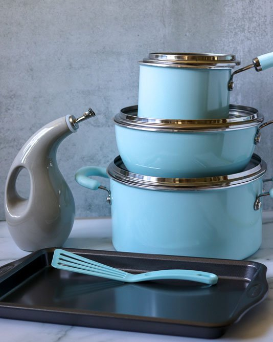 stack of rachael ray create delicious cookware