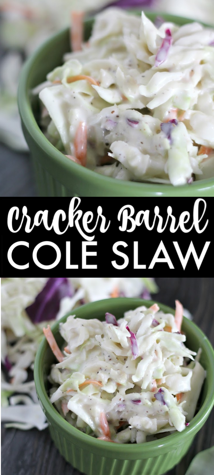 This creamy, classic coleslaw tastes just like the one you'll find at Cracker Barrel. A super easy side dish that goes great at summer BBQs. | www.persnicketyplates.com #bbq #sidedish #coleslaw #vegetarian #easyrecipe #crackerbarrel #familyrecipe
