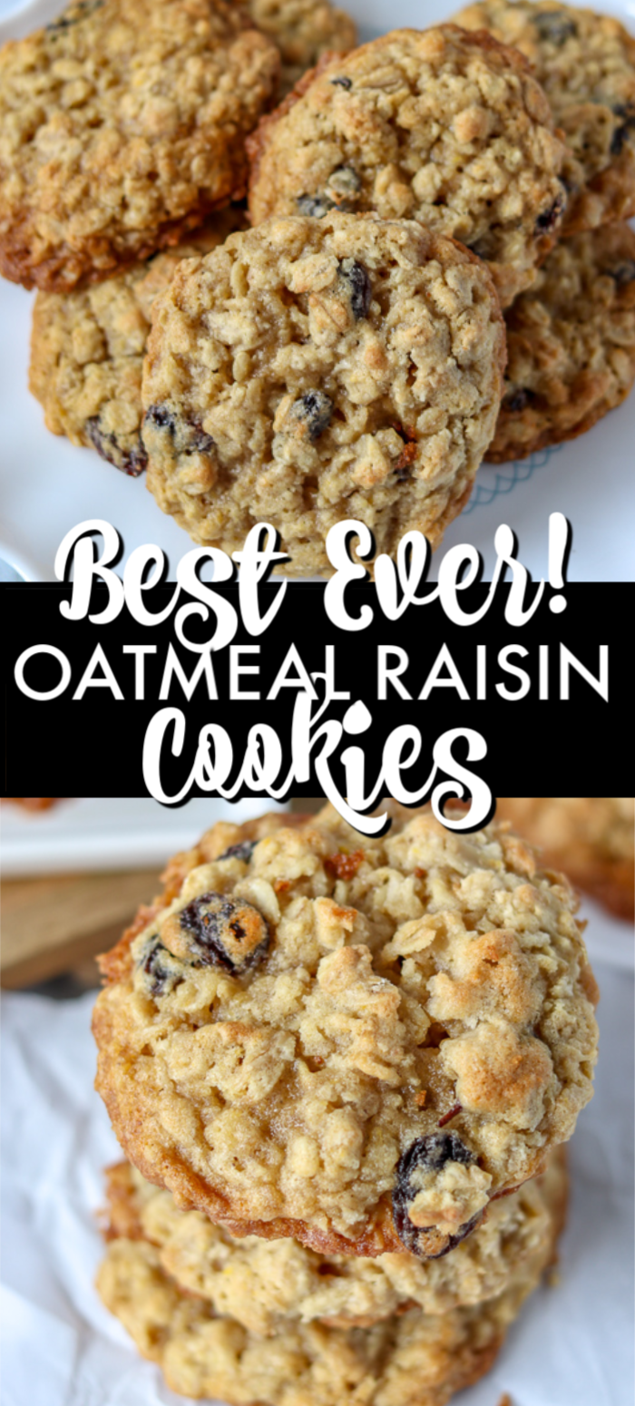 These BEST Oatmeal Raisin Cookies are a staple in any cookie jar. Soft and chewy in the middle with a crisp edge, these cookies are the perfect treat! | www.persnicketyplates.com #oatmealcookies #oatmeal #dessert #cookies #easyrecipe