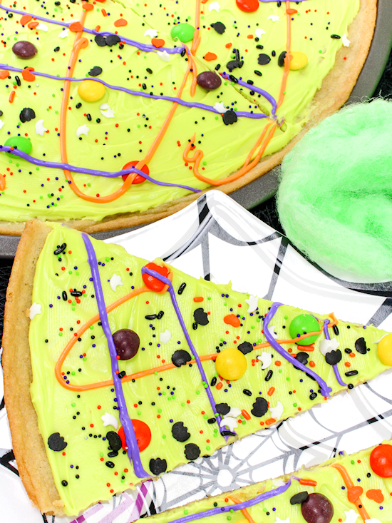 brightly colored halloween cookie pizza