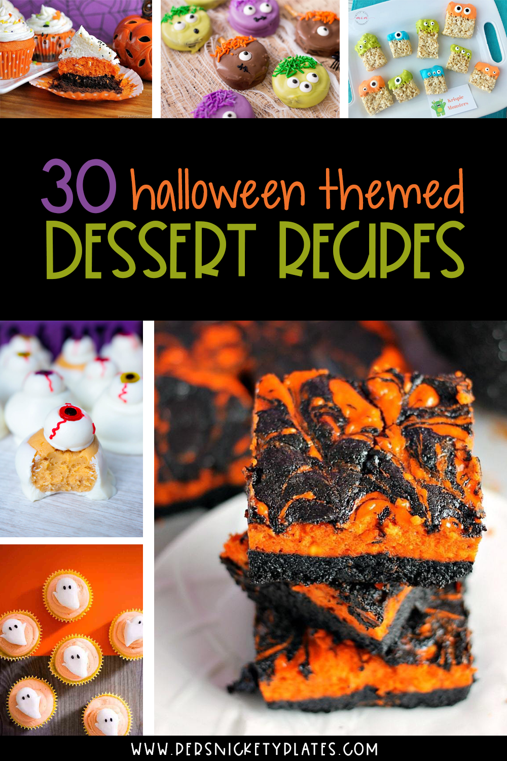 Halloween and desserts are two of my favorite things so I am excited to share THIRTY Halloween dessert recipes with you today! They are so fun, spooky, and most importantly: delicious. These easy Halloween dessert ideas will be the hit of every party! | www.persnicketyplates.com #halloween #halloweenrecipes #halloweendesserts #desserts #easyrecipes