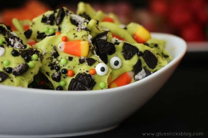bowl full of green halloween candy bark