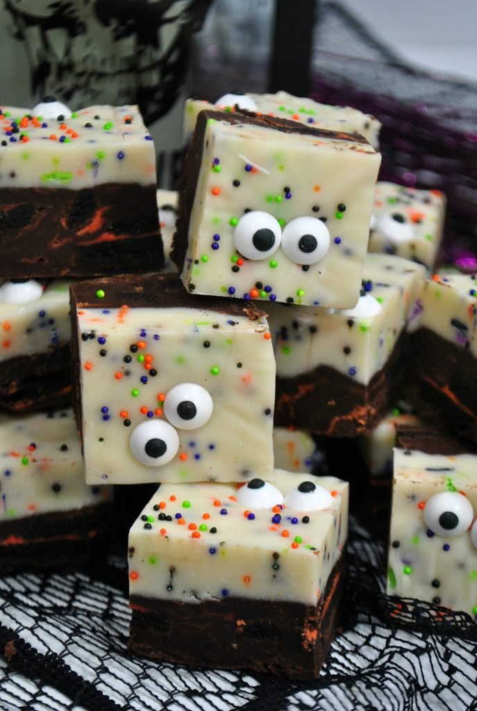 stack of fudge with halloween sprinkles and eyeballs