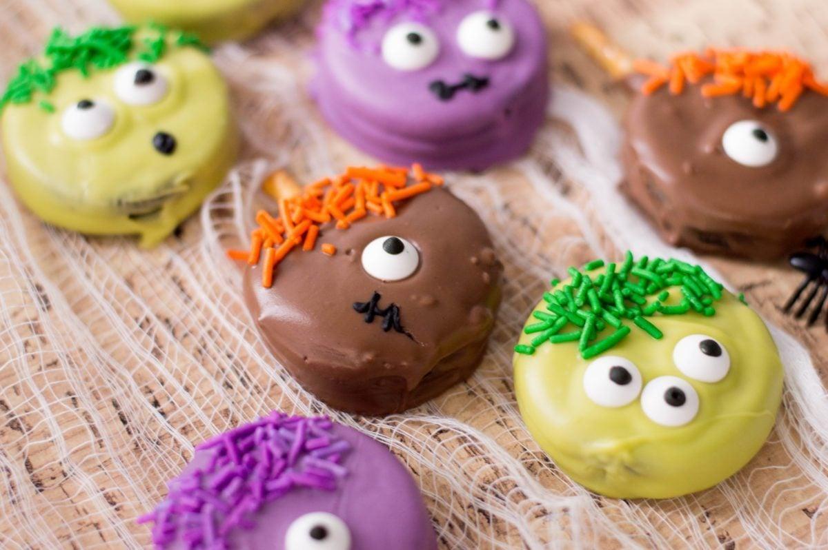 colorful halloween monster cookies with sprinkles