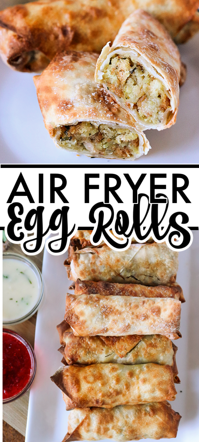 Turkey & Stuffing Air Fryer Egg Rolls are perfect for Thanksgiving leftovers or for an easy weeknight meal! Making egg rolls in the air fryer are quick and delicious. | www.persnicketyplates.com #airfryer #eggrolls #easyrecipe #thanksgiving #leftovers #turkey
