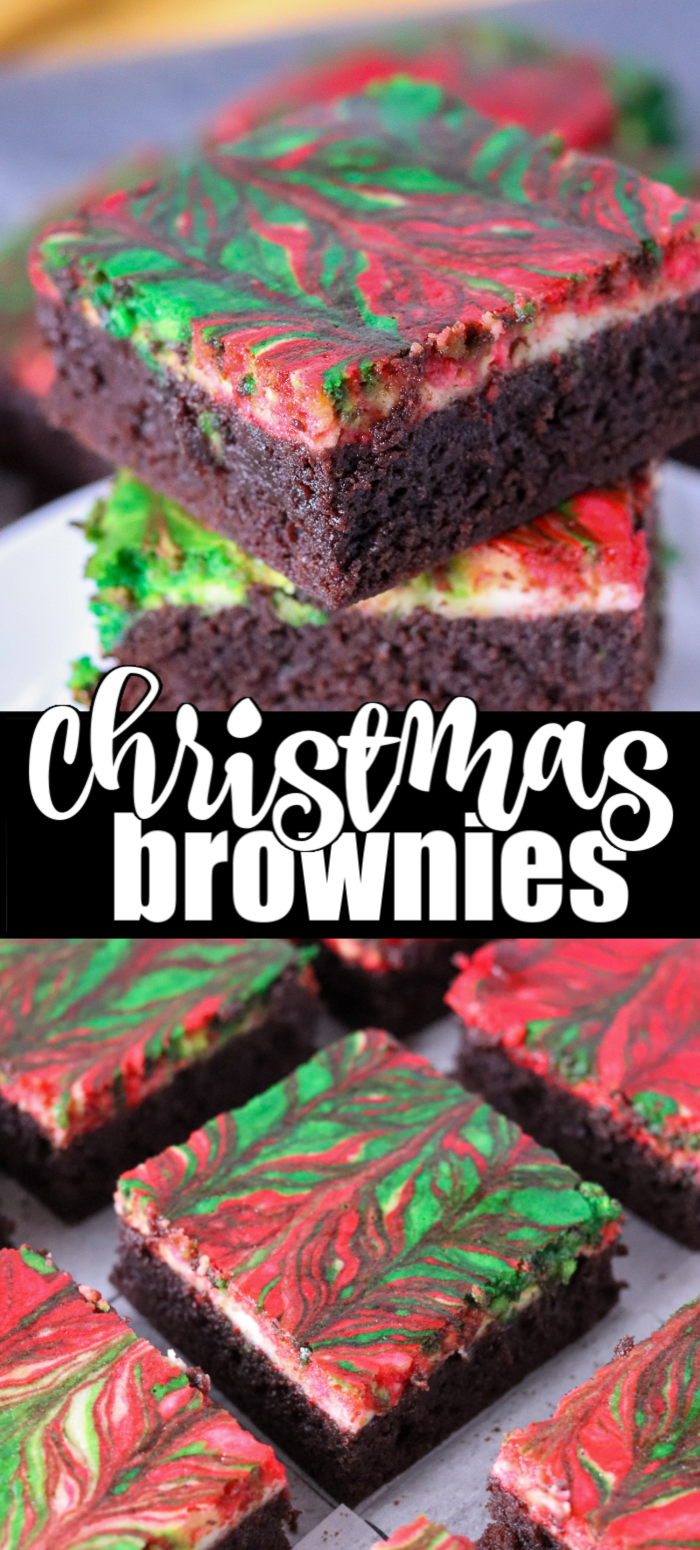 Christmas Brownies are a festive and delicious way to celebrate the season. A from-scratch brownie layer topped with a red & green swirled cream cheese layer come together to make a rich brownie that will make kids and adults happy. | www.persnicketyplates.com
