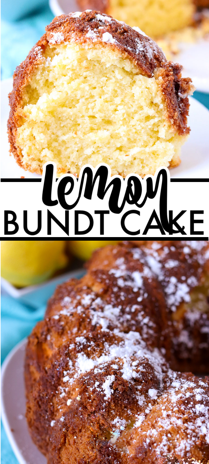 Lemon Bundt Cake has a moist crumb and is full of lemon flavor with fresh lemon juice, lemon zest, and instant lemon pudding. | www.persnicketyplates.com #cake #bundtcake #baking #easyrecipe #lemon