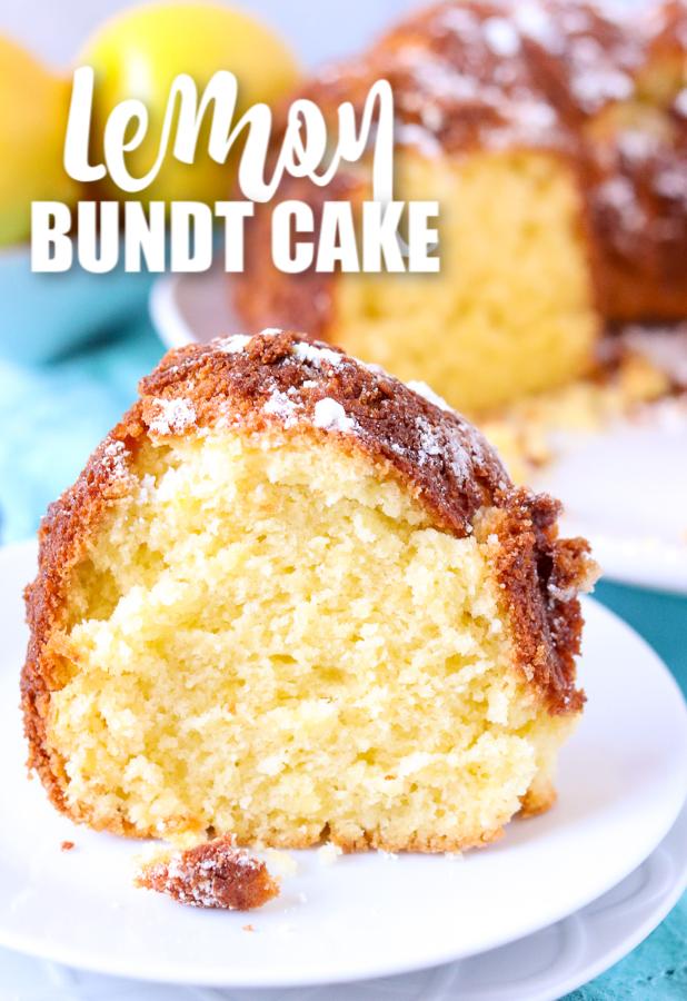 slice of lemon bunt cake with cake in background