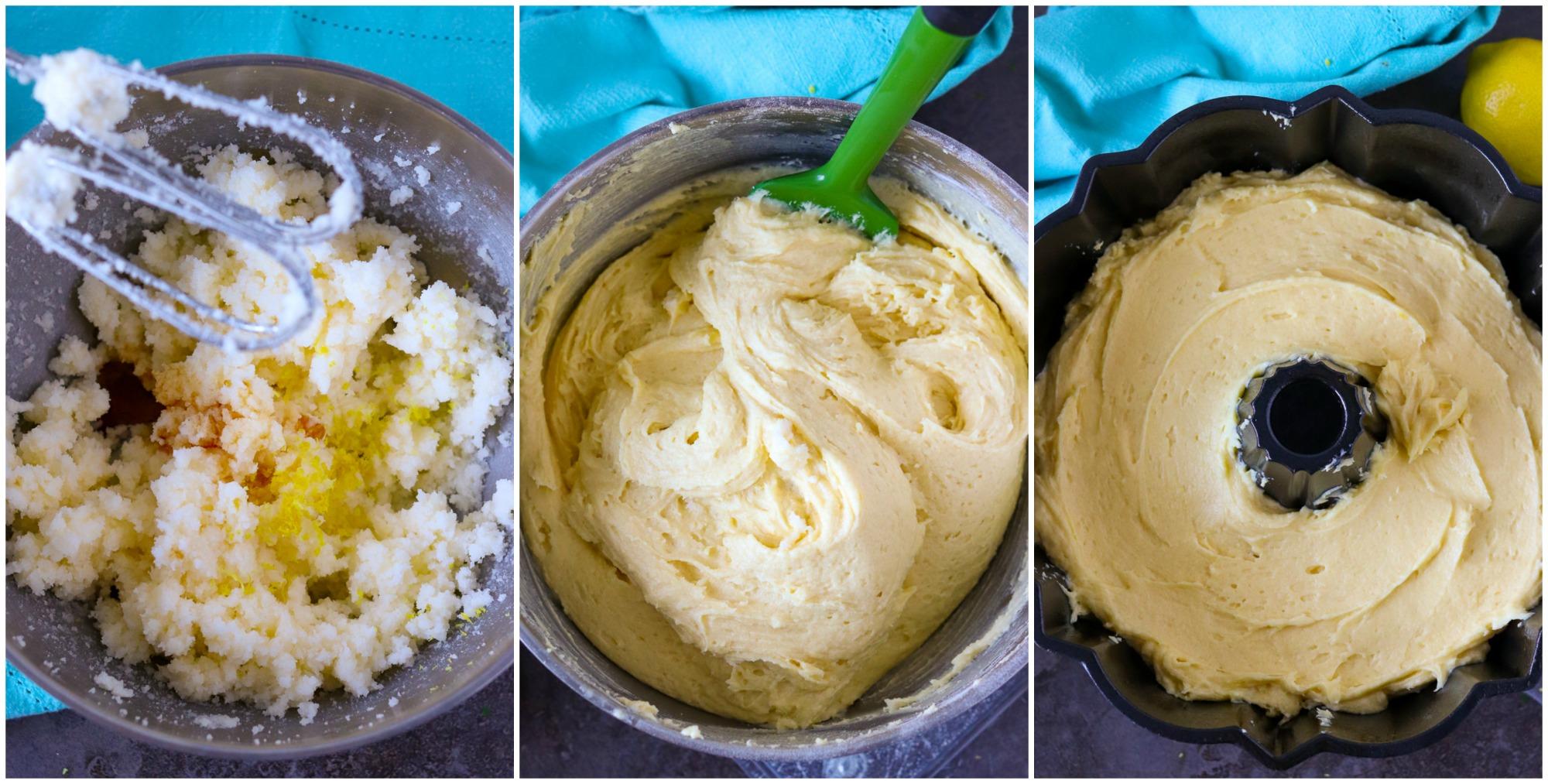 lemon pudding cake batter in mixing bowl and bundt pan