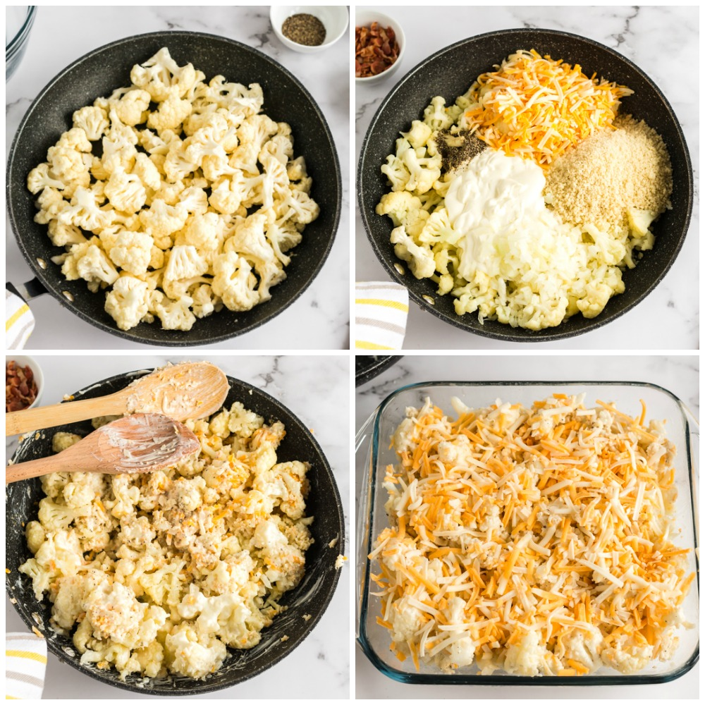 collage of cauliflower in sauce pan making casserole