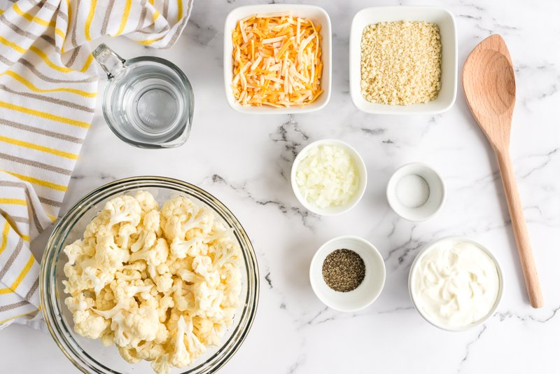 cauliflower and cheese in bowls to make casserole