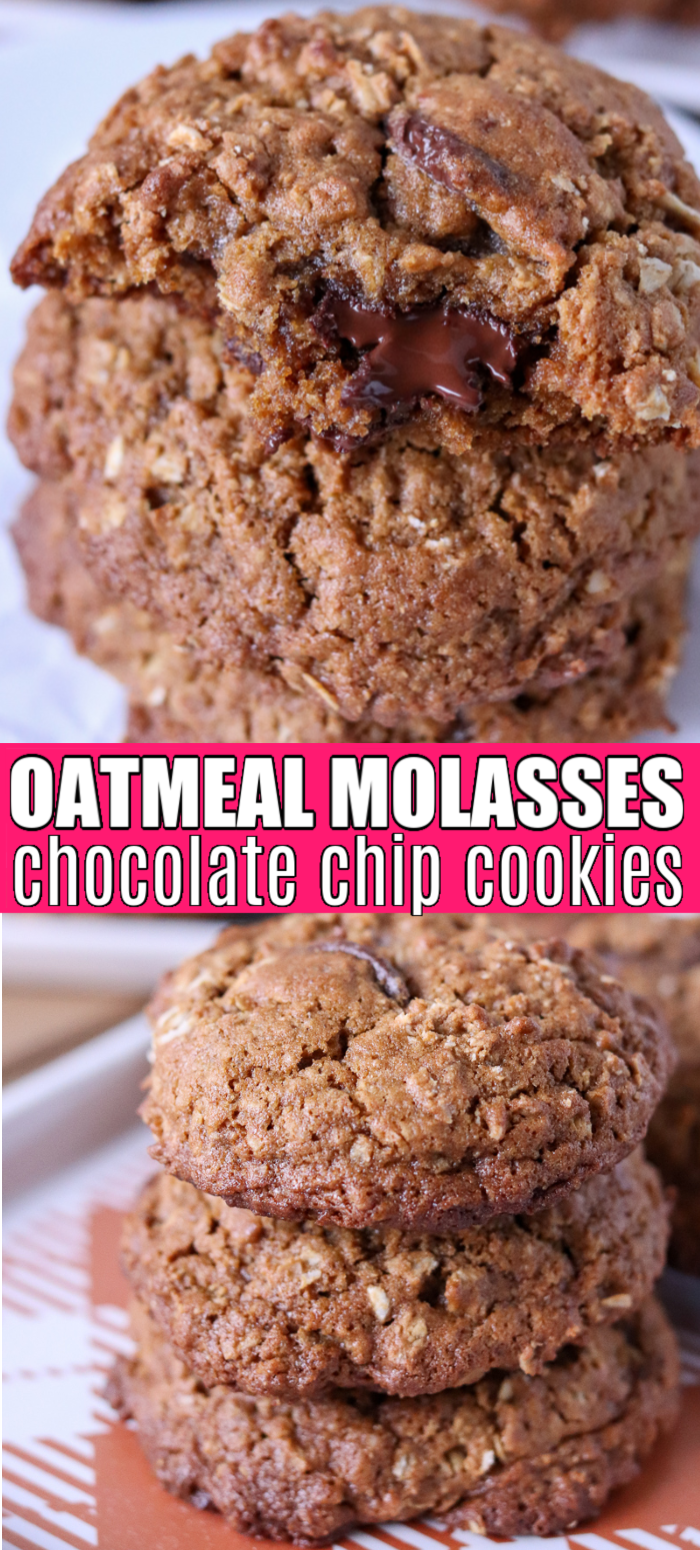 These Oatmeal Molasses Chocolate Chip Cookies are the perfect dessert for any and all occasions. Eat them warm from the oven or grab one as you're walking out the door. You can't go wrong with having a delicious homemade cookie in your hand! | www.persnicketyplates.com #cookies #christmascookies #molasses #baking #easyrecipe
