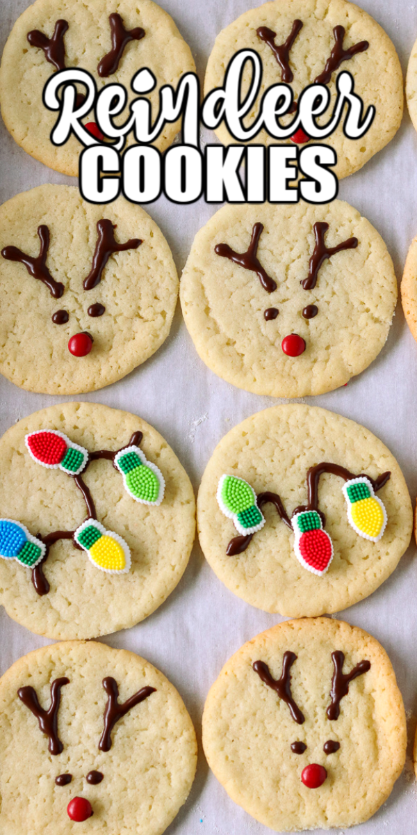 Easy Reindeer Cookies make an adorable addition to the holiday dessert table or Santa's cookie plate! Make these super simple with pre-made cookie dough or bake sugar cookies from scratch.  | www.persnicketyplates.com #christmas #christmascookie #reindeer #easyrecipe #sugarcookie