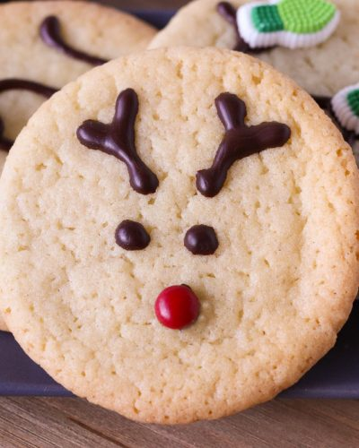 close up of reindeer cookie