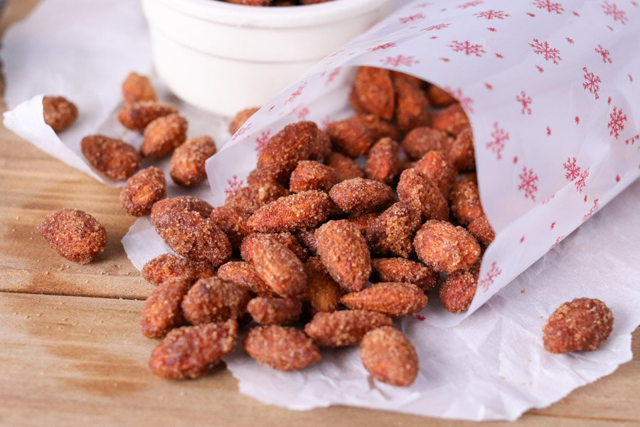 candied almonds spilling out of christmas bag
